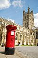 Gloucester Cathedral with Victorian pillar box.jpg