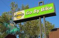Go By Bike sign, Woodstock, Portland, Oregon (2014).jpg