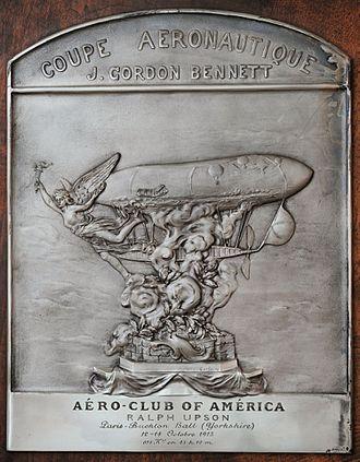 Ralph Hazlett Upson - The trophy received by Ralph Upson for winning the Gordon-Bennett race in 1913.