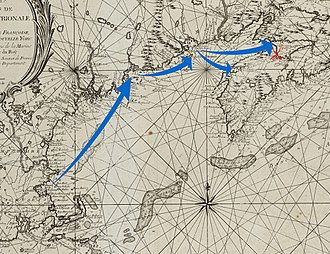 Raid on Grand Pré - Detail from an 18th-century map showing the English expedition's movements up to its arrival at Grand Pré and Port Royal