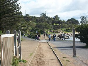 Victor Harbor Horse Drawn Tram - Granite Island as seen from the tram station