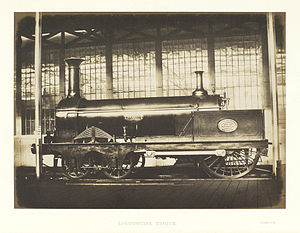 Crampton locomotive - SER No. 136 Folkstone at The Great Exhibition, 1851.