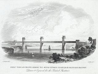 Great Tubular Bridge across the Menai Strait: Chester & Holyhead railway