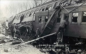 Green Mountain train wreck - Telescoping of the wooden coaches