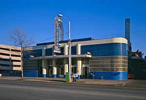 Greyhound Lines - Greyhound station in Columbia, South Carolina, built in 1938–1939 in the Art Deco style known as Streamline Moderne (photo taken in 1986).