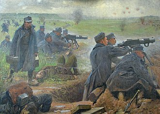 1st Army (Austria-Hungary) - Painting depicting machine gunners of the 1st Army firing at advancing enemy forces, 1915