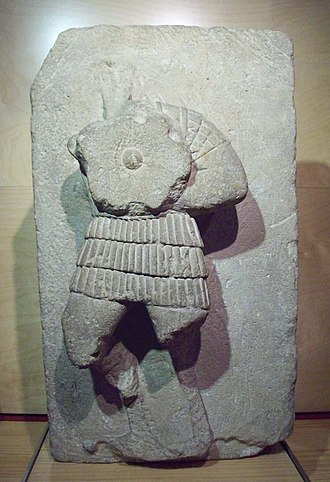 Caetra - High relief from Osuna (Seville, Spain) showing an Iberian warrior with caetra (2nd or 1st Century BC)