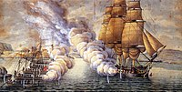 Gunboat battle near Alvøen Norway.jpg