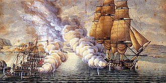 Gunboat War - Battle between the frigate HMS Tartar and Danish gunboats  at Alvøen near Bergen in 1808