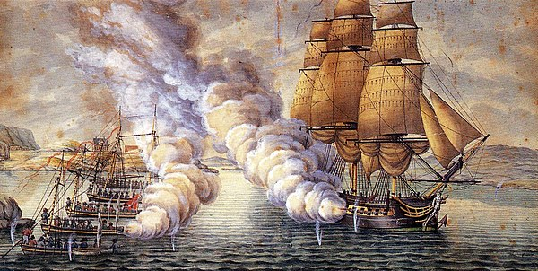 Naval battle between the frigate HMS Tartar and Norwegian gunboats near Bergen in 1808 Gunboat battle near Alvoen Norway.jpg
