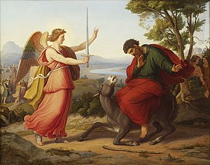 Balaam - Balaam and the angel, painting from Gustav Jaeger, 1836.