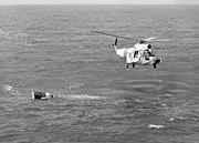HH-52A USCG over Gemini 3 capsule 1965