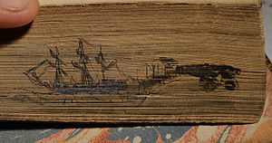 HMS Abergavenny (1795) - Fore-edge painting of HMS Abergavenny, from a book printed in 1780 from the ship's library (see below) during its time in naval service. Diameter of painting 72mm. Purchased in London in 1993.