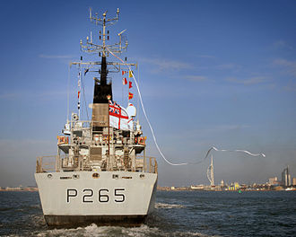 Pennant (commissioning) - Image: HMS Dumbarton Castle displays her Paying Off Pennant as she enters Portsmouth Harbour for the last time MOD 45147584