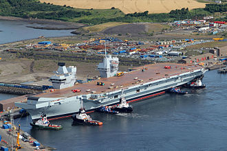 CVA-01 - Queen Elizabeth tied up at Rosyth in 2014 during her fitting out