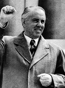 Enver Hoxha served as Prime Minister and First Secretary of the Party of Labour of Albania. HODZA druha miza crop.jpg