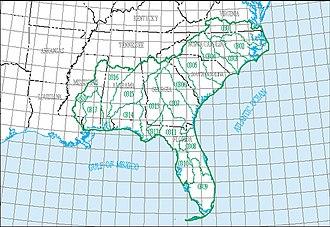 South Atlantic-Gulf Water Resource Region - The South Atlantic-Gulf region, with its 18 4-digit sub-region hydrologic unit boundaries.