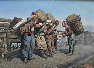 Simon Agopyan - Image: Hamals on the Karaköy Bridge