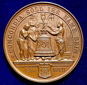 Song of the Bell - Image: Hamburg, Bronze Medal 1859 Friedrich Schiller 100th Birthday. The Bell Song (reverse)