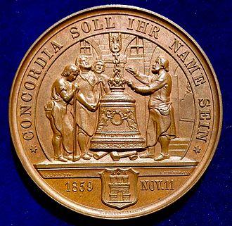 Song of the Bell - Image: Hamburg, Bronze Medal 1859 Friedrich Schiller 100th Birthday. The Bell Song (reverse)