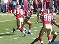 Handoff to Michael Robinson pregame at Eagles at 49ers 10-12-08.JPG