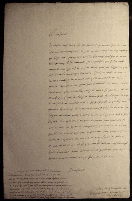Handwritten letter by Descartes, December 1638 Handwritten letter by Descartes December 1638.jpg