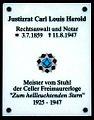 Hannoversche Straße 58, Celle, Carl-Herold-Haus, Justizrat Carl Louis Herold 1859-1947, Meister vom Stuhl der Freimaurerloge Zum hellleuchtenden Stern 1925-1947.jpg