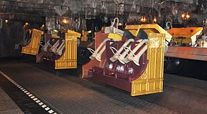 "Harry Potter and the Forbidden Journey - The ""enchanted bench"" ride vehicles."