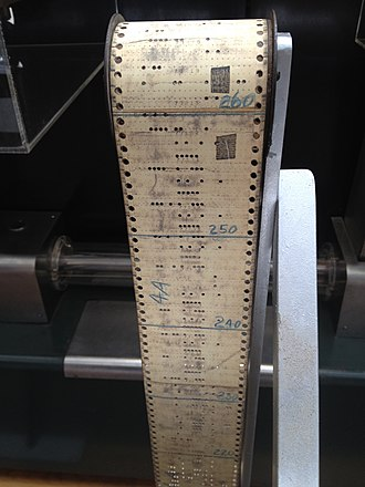 Patch (computing) - A program tape for the 1944 Harvard Mark I, one of the first digital computers. Note physical patches used to correct punched holes by covering them.