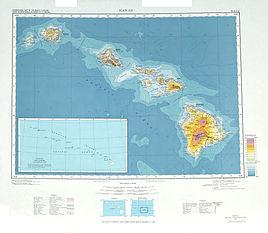 Topographische Karte der acht größten Inseln