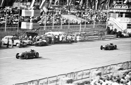 Hawthorn leads Peter Collins in their Ferrari 801 cars, during the 1957 German Grand Prix Hawthorn and Collins Ferraris Nurburgring 1957.jpg