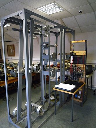 """Heath Robinson (codebreaking machine) - The rebuilding of a Heath Robinson on show at the National Museum of Computing. Prominent in the foreground is the paper tape transport mechanism that was dubbed the """"bedstead"""" because of a resemblance to an upended metal bed frame."""
