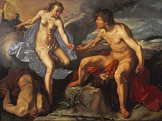 Argus Panoptes - Juno receiving the eyes of Argus from Mercury by Hendrik Goltzius (1615), Museum Boijmans Van Beuningen