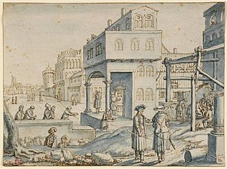 Hendrik Hondius I - Imaginary View of a Town with the Adoration of the Shepherds, drawing, 1618
