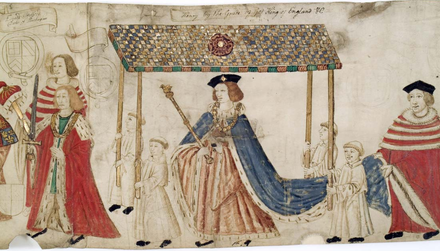 King Henry VIII aged 21, on his way to open Parliament on 4 February 1512. Edward Stafford, 3rd Duke of Buckingham, KG, walks ahead carrying the Sword of State. Another peer holds the Cap of Maintenance. Detail from The Procession of Parliament 1512, Trinity College Library, Cambridge HenryVIII ParliamentProcessionRoll 1512.png