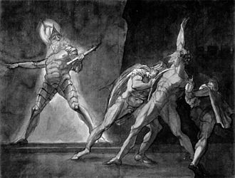 "Ghost story - ""Hamlet and his father's ghost"" by Henry Fuseli (1780s drawing). The ghost is wearing stylised plate armour in 17th-century style, including a morion type helmet and tassets. Depicting ghosts as wearing armour, to suggest a sense of antiquity, was common in Elizabethan theatre."