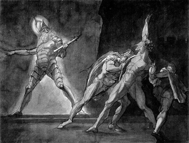 Гамлет, Горацио, Марцелл и призрак отца Гамлета. Генри Фюзели, 1780—85. Кунстхаус (Цюрих)
