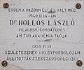 Here-lived plaque of Laszlo Hollos, Matyas király Road,, 2016 Szekszard.jpg