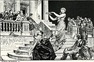 The Magazine of Art - Poster for the magazine of art (engraving after Hubert von Herkomer, 1881)