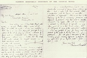 A letter from Herschel to William Unwin on June 5, 1888, describing his  invention of the Venturi meter while working at the Holyoke Water Power  Company 3694d94356