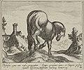 Heuvelachtig landschap met een paard op een heuvel, naar rechts gewend, op de rug gezien. Op de achtergrond een aquaduct. NL-HlmNHA 1477 53011517.JPG