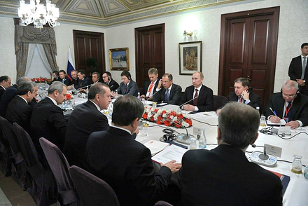 Davutoglu at the annual meeting of the Turkish-Russian High-Level Co-operation Council in 2012 High-Level Russian-Turkish Cooperation Council.PNG