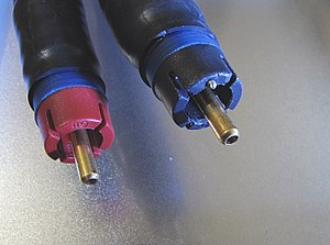 "RCA connector - ""Bullet plug"" variation – Note the hollow center conductor and the pin point for the return signal."