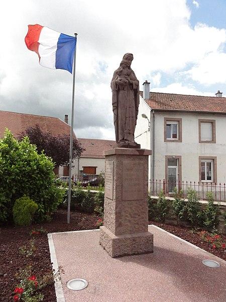 Hilbesheim (Moselle) monument aux morts avec statue Vierge et Enfant