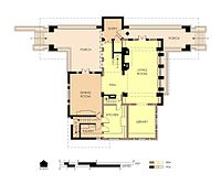 Hills House First Floor Plan in 1906.  Outline of the earlier house is shown in yellow.