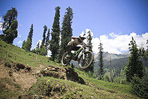 Downhill mountain biking - Indian DH rider Piyush Chavan during 1st Himachal Downhill Mountain Bike Trophy 2014.