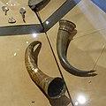 Historisk museum (Cultural History Museum) Middelaldersalen Oslo Norway 2020-02-26 Drikkehorn 1 1400- t HELP MARIA SALVE BERSVEIN A MIK, 2 1300-tallet (Medieval drinking horns 15c. and c. 1300) DSC04477.jpg
