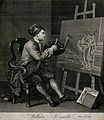 Hogarth painting the comic muse. Etching after W. Hogarth. Wellcome V0049264.jpg