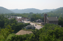 Downtown Hokah viewed from the side of Thompson Bluff