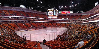 Honda Center - Panorama of Honda Center's interior before a 2007 playoff hockey game.